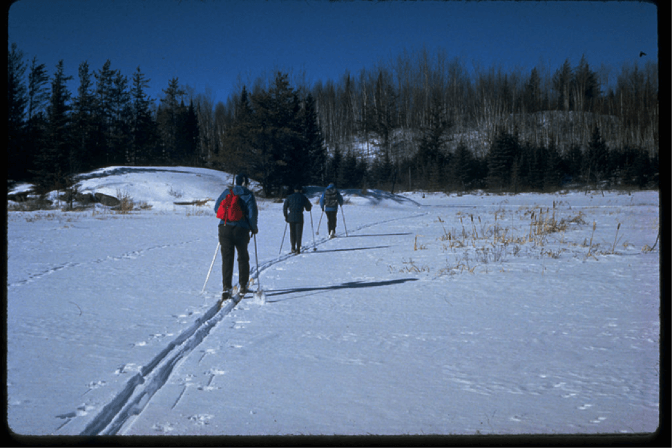 Cross country skiers visit Voyageurs National Park in winter